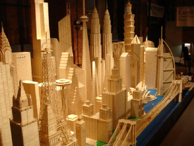 Toothpick City I Sculpture by Stan Munro