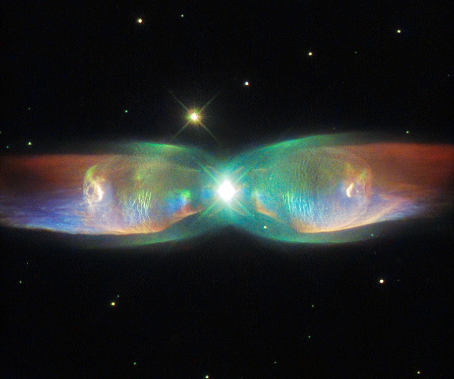 The Twin Jet Nebula or PN M2-9, a bipolar planetary nebula. Bipolar planetary nebulae are formed when the central object is not a single star, but a binary system.