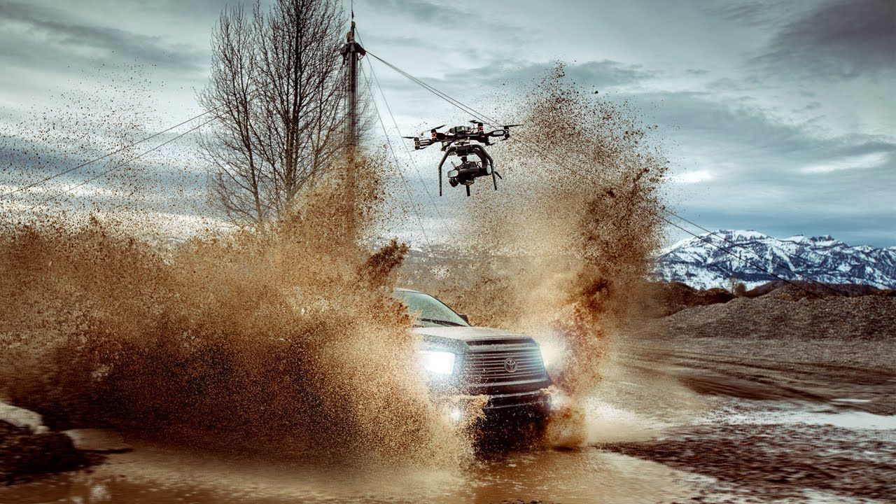 Drone footage – car in mud