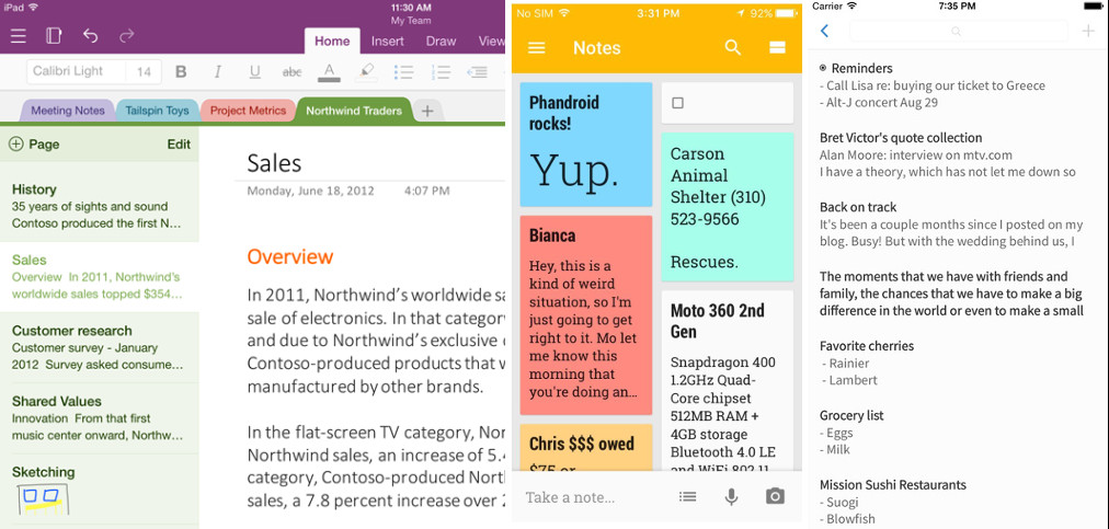 OneNote Google Keep SingleNote – iPhone app