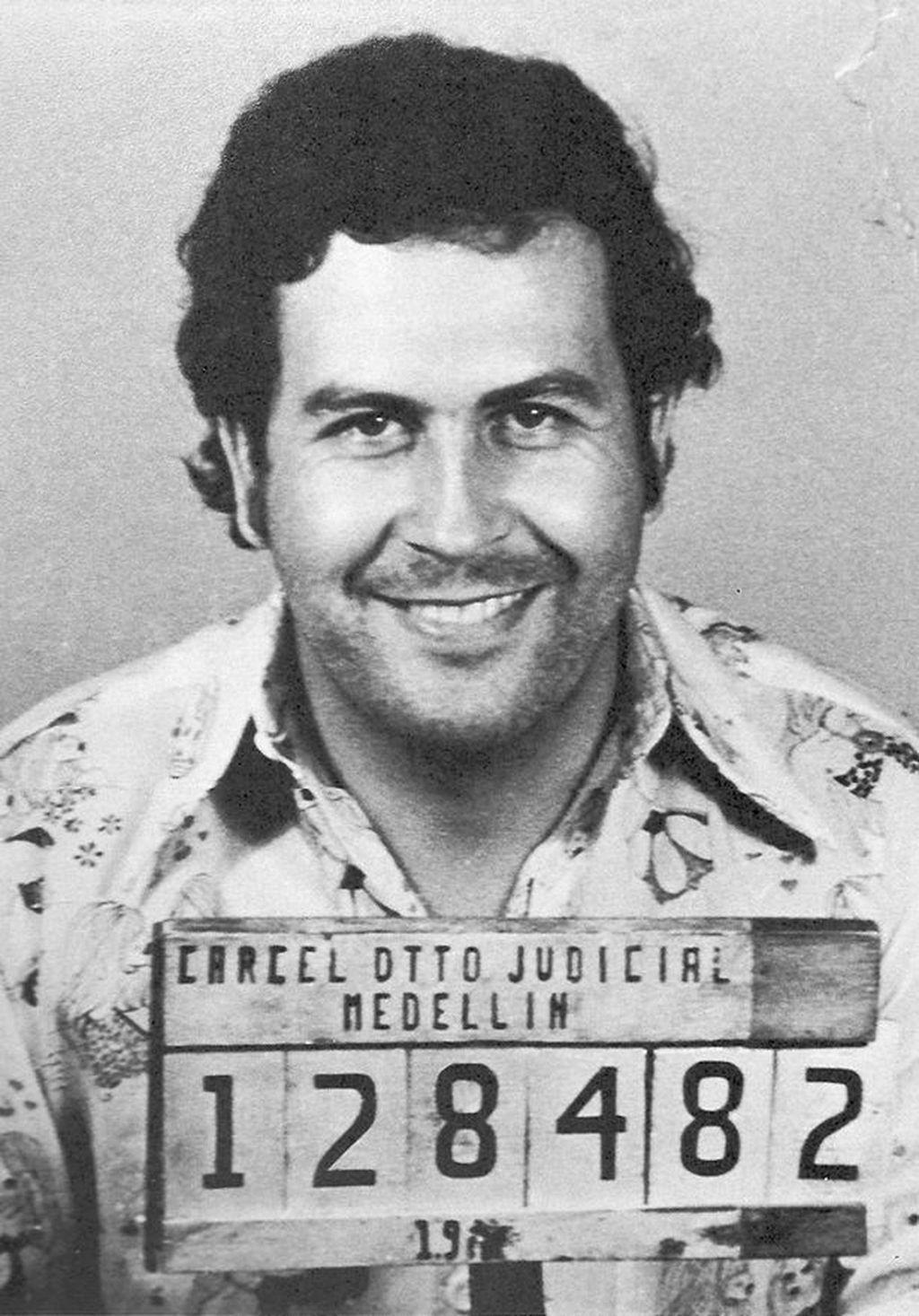 Pablo Escobar - mug shot taken by the regional Colombia control agency in Medellin in 1976