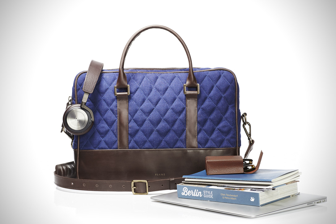 Luxury business bag made from recycled airport carpet, in blue
