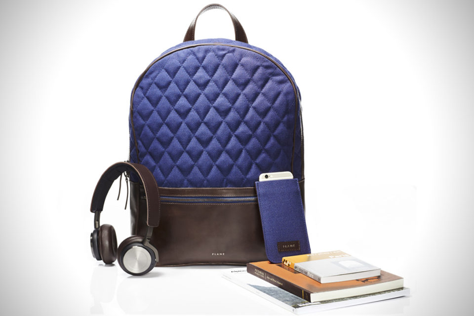 Luxury backpack made from recycled airport carpet