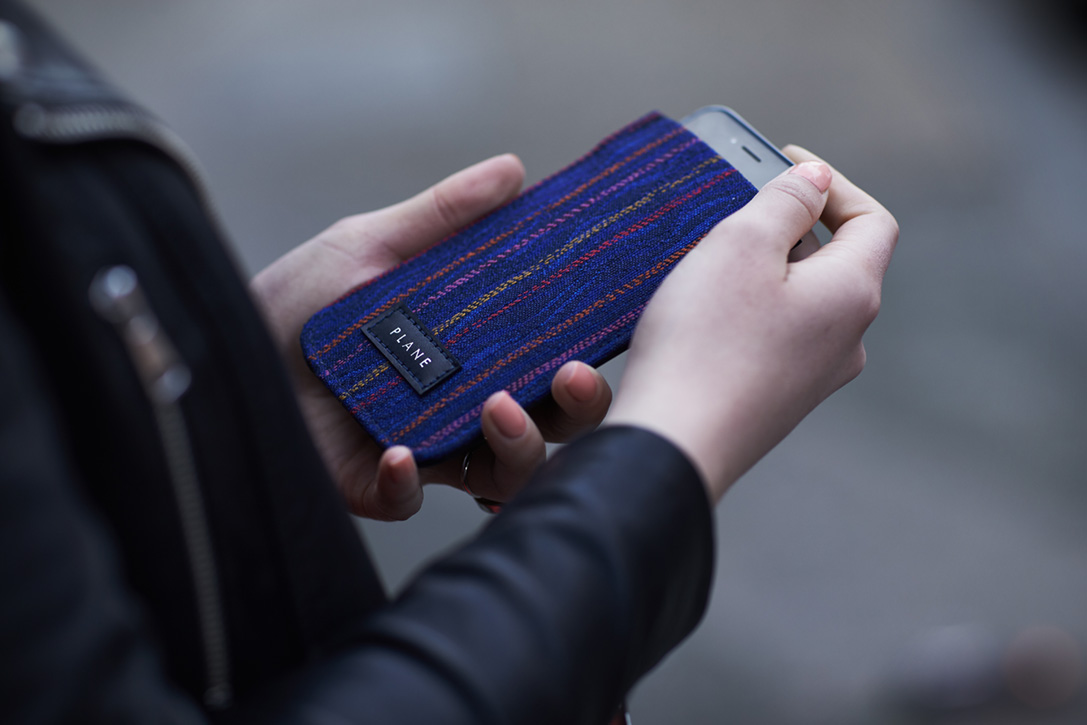Luxury smartphone case made from recycled airport carpet