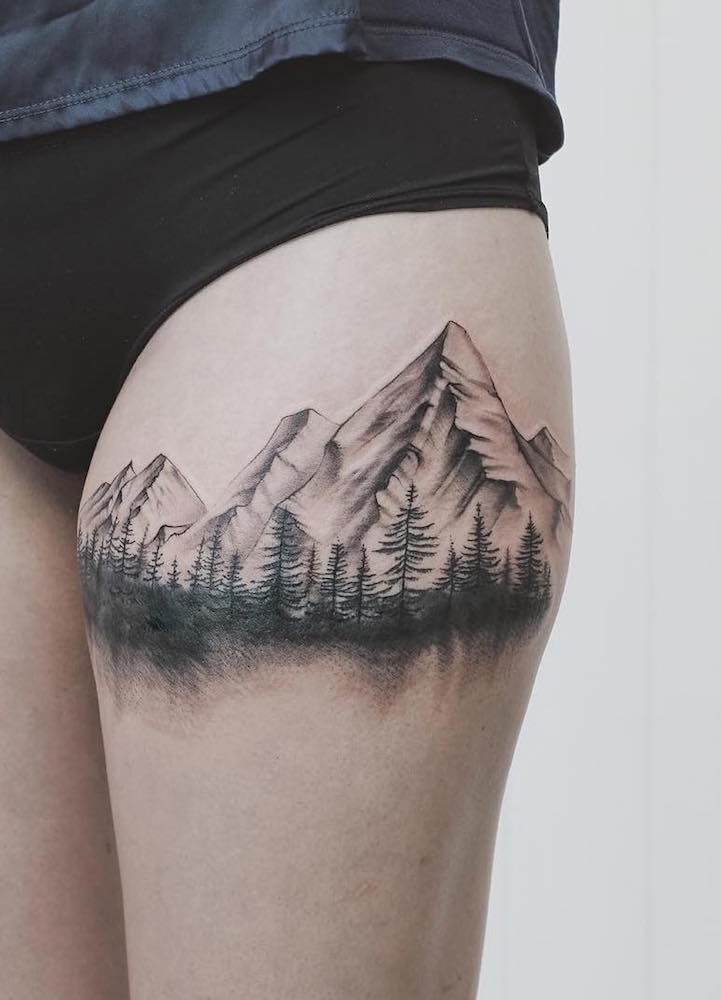 Sketched and shaded mountainscape tattoo