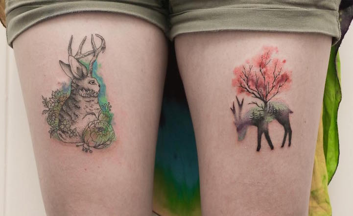 Sketched and water colour jackalope and deer silhouette tattoos