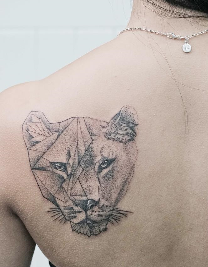 Sketched geometric lionness  The Remarkable Beauty of Geometric, Water Colour Tattoos by Jasper Andres