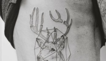 Sketched geometric stag with pieced antlers 345x200 The Remarkable Beauty of Geometric, Water Colour Tattoos by Jasper Andres