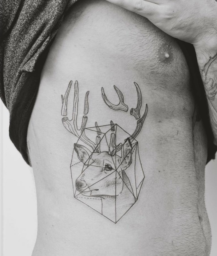 Sketched geometric stag with pieced antlers