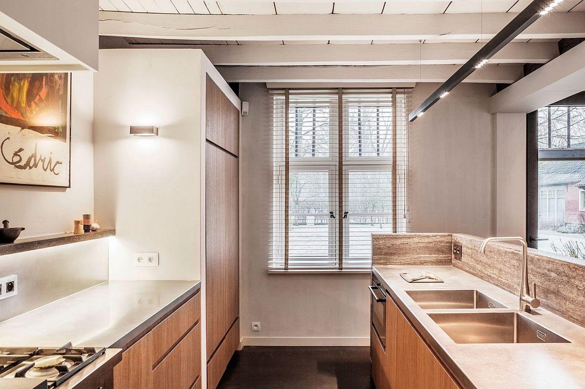 Spacious oak veneer cabinets