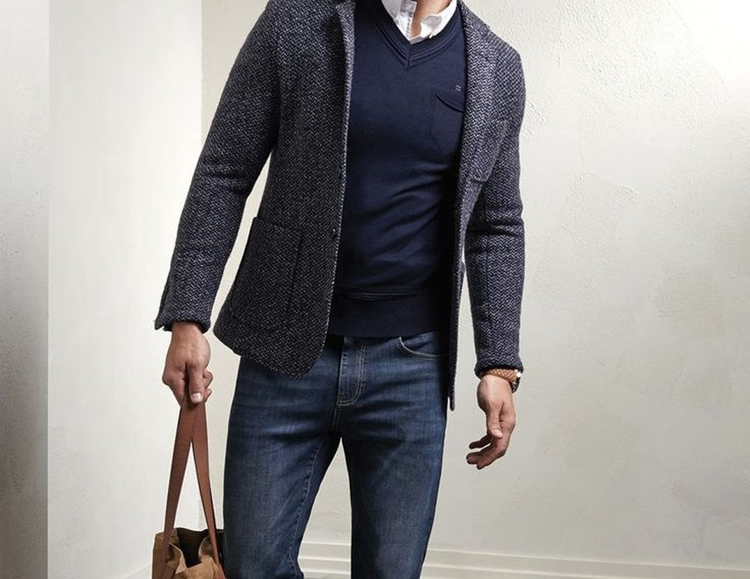 Sport Coat with Sweater and Jeans