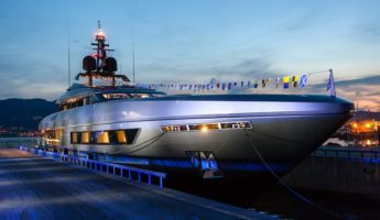 The yacht docked at dusk 345x200 Baglietto Fast, The 46m Luxury Yacht James Bond Would Ride