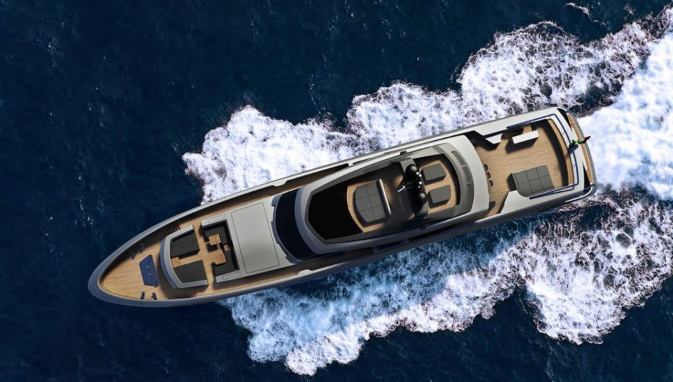 The yacht from an aerial view 960x545 Baglietto Fast, The 46m Luxury Yacht James Bond Would Ride