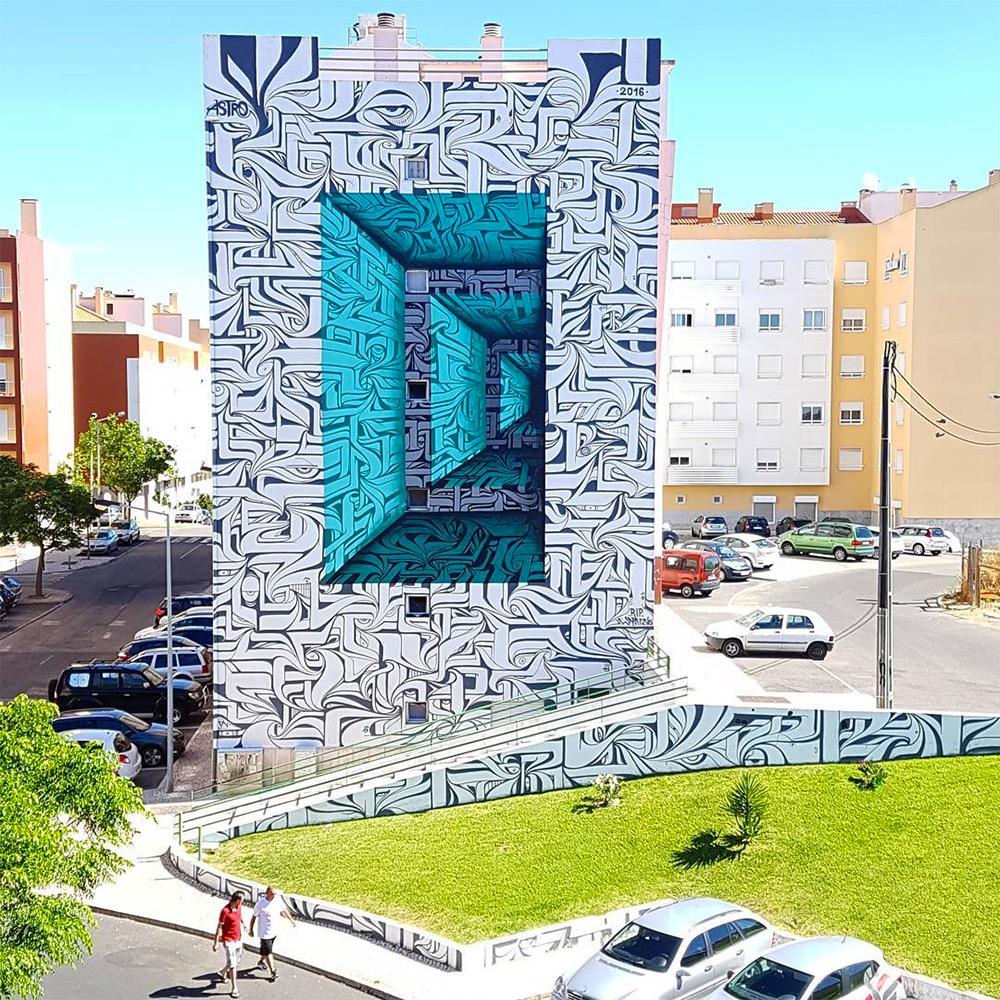 Urban calligraphic optical illusion murals by Astro 1