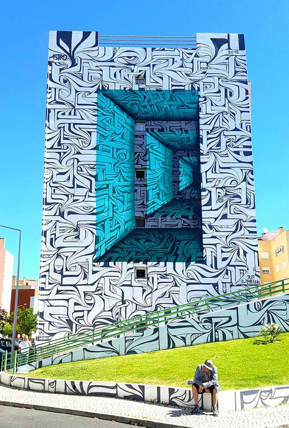 Urban calligraphic optical illusion murals by Astro 2