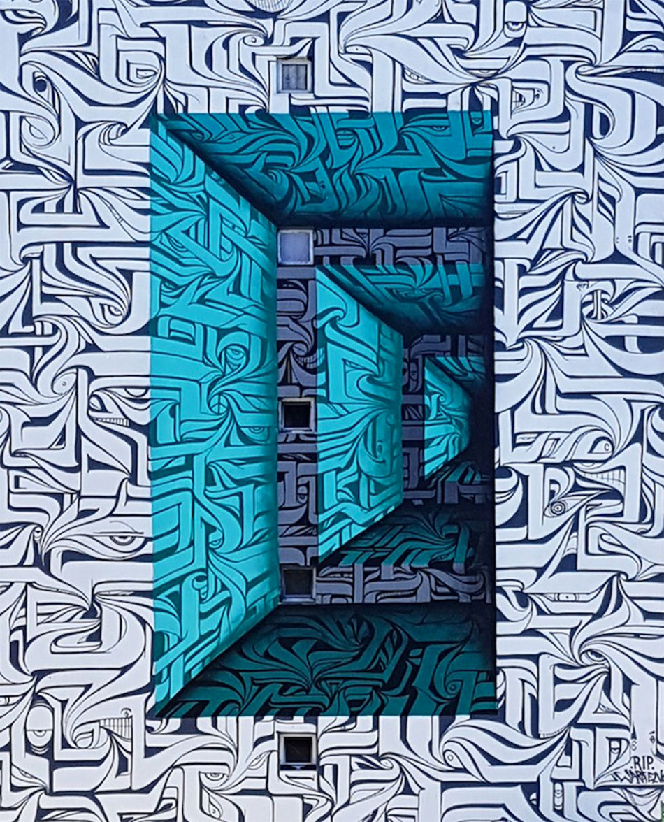 Urban calligraphic optical illusion murals by Astro 3