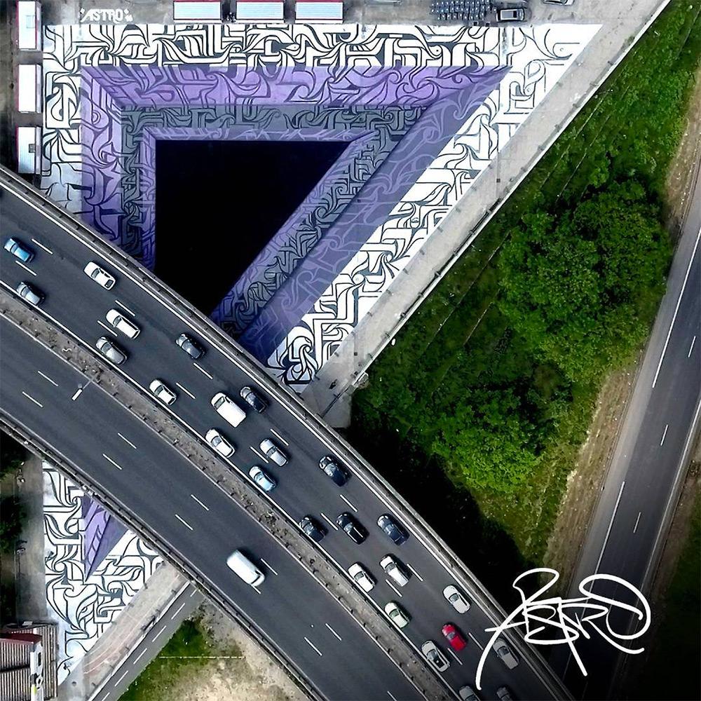 Urban calligraphic optical illusion murals by Astro 4