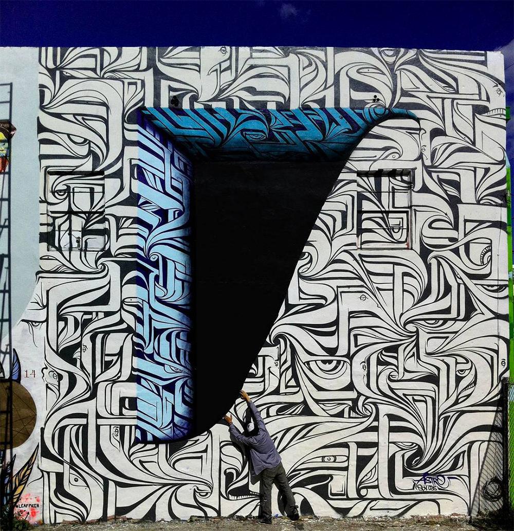 Urban calligraphic optical illusion murals by Astro 5