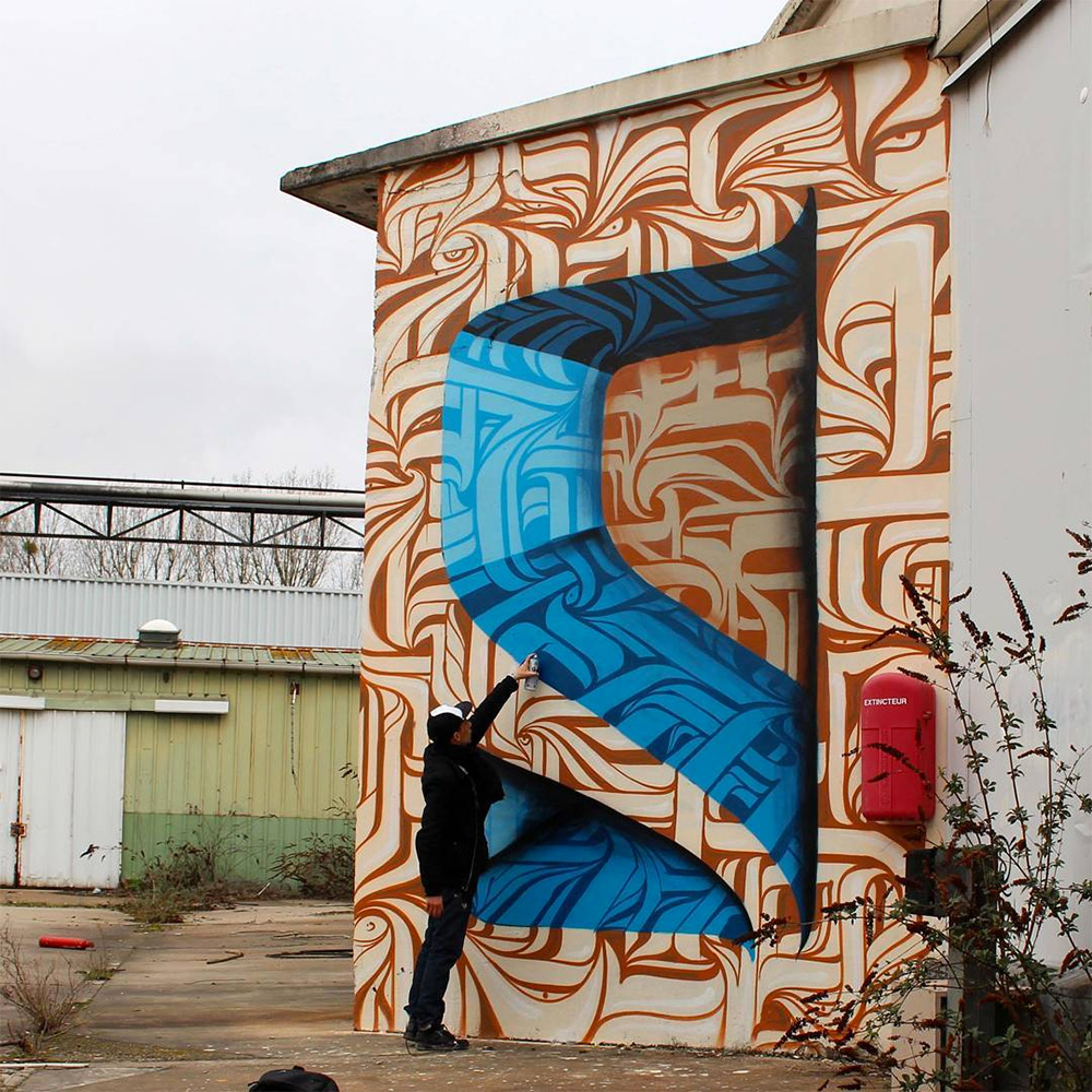 Urban calligraphic optical illusion murals by Astro 6