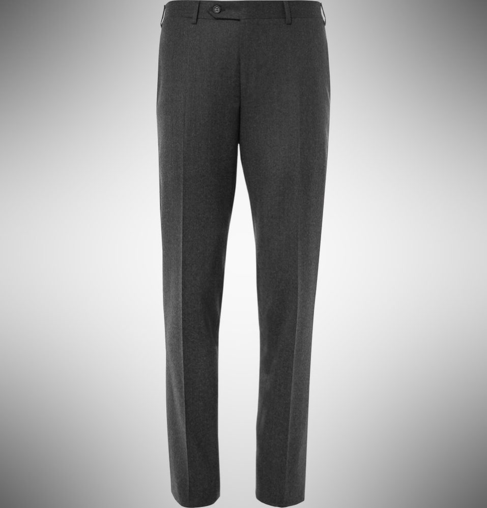 Canali Grey Firenze Slim-Fit Super 120s Wool Trousers - summer dress pants for men
