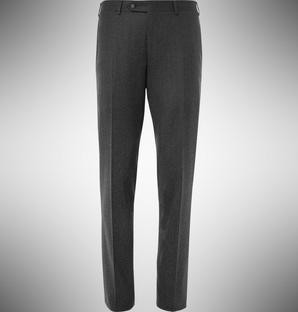 Canali Grey Firenze Slim-Fit Super 120s Wool Trousers – summer dress pants for men