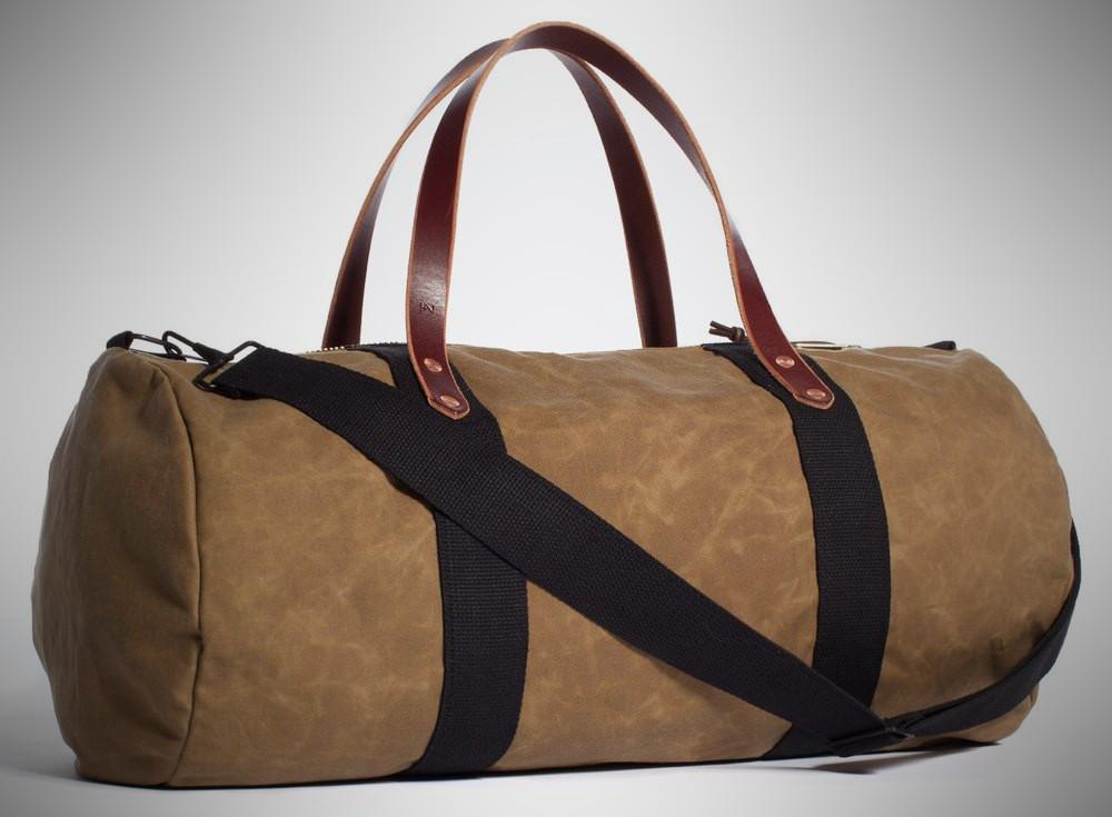Joshu+Vela Duffle in Safari Tan Wax – weekender bag for men