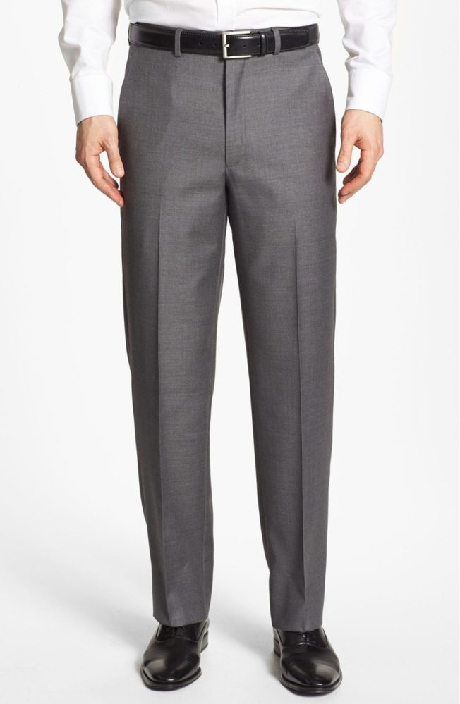 Santorelli Flat Front Wool Trousers - summer dress pants for men