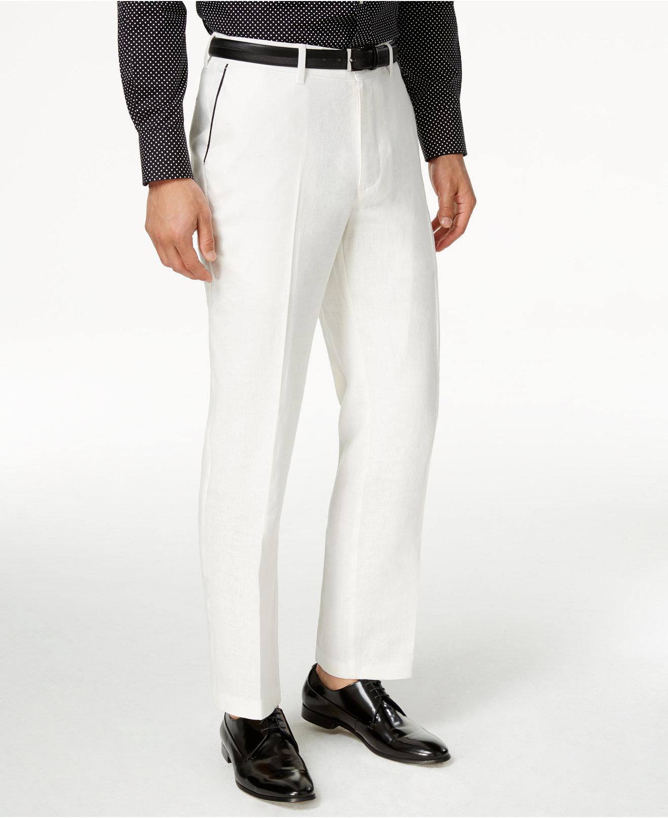 Sean John Cream Linen Summer Dress Pants