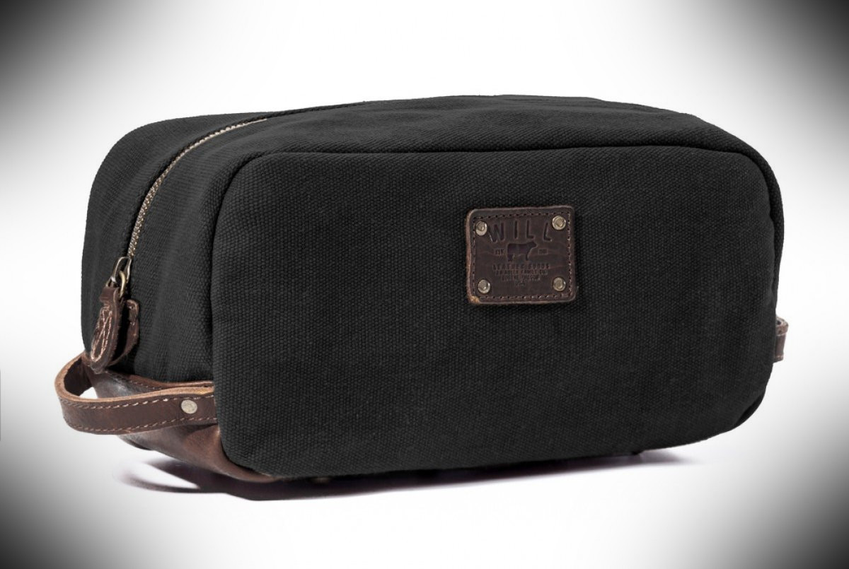 Will Leather Goods Mens Grady Canvas & Leather Travel Kit – dopp kit essentials