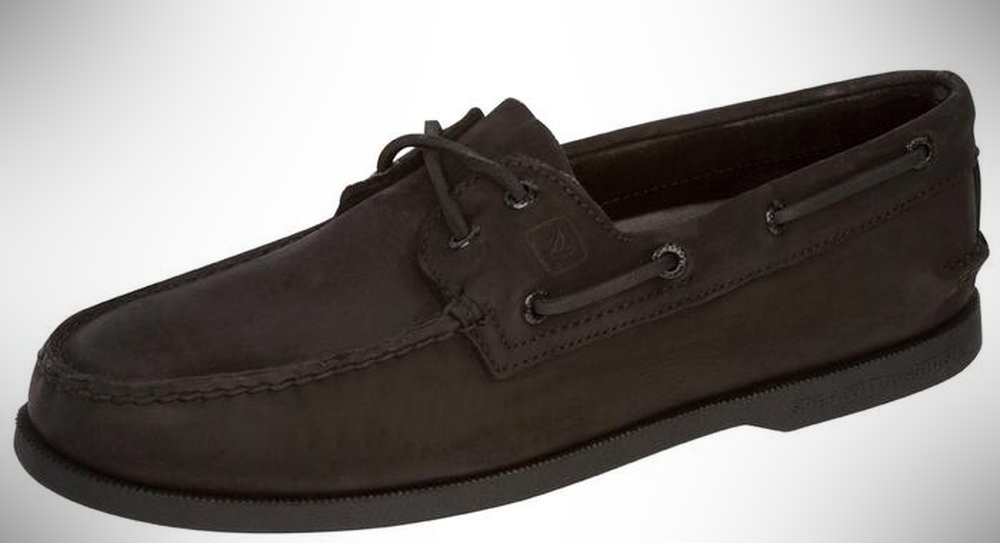 Sperry Bahama 2 Eye Black Monogram – boat shoes that are business casual