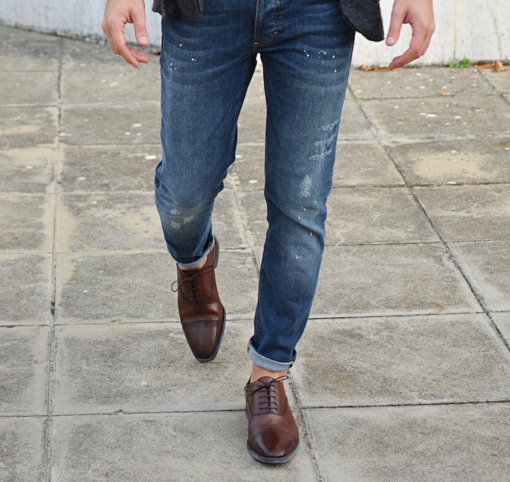 Battered Jeans Dress Shoes