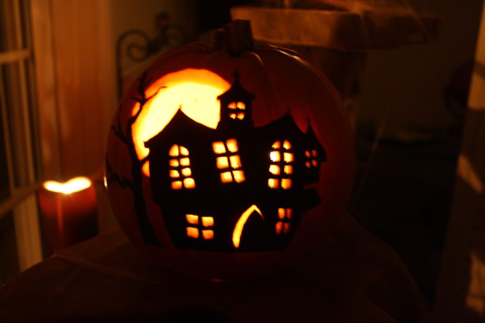 Haunted House Pumpkin Painting