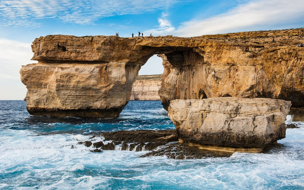 Famous sea arch, the Azure Window, Gozo, Malta, Mediterranean, Europe