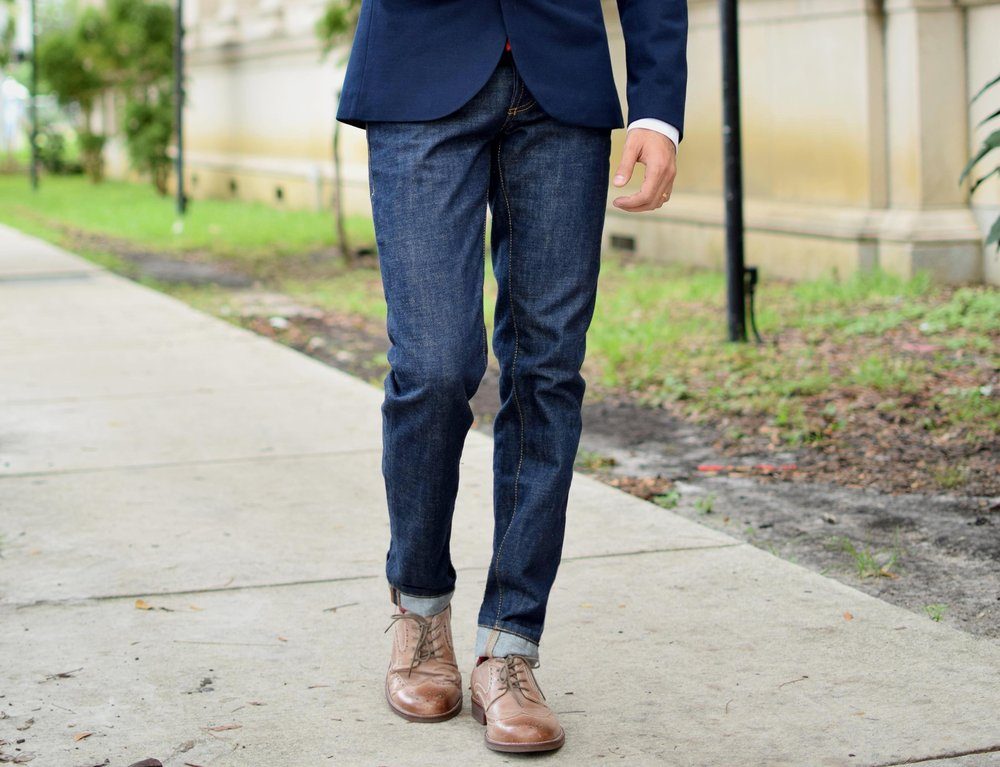 Slim Cut Jeans With Dress Shoes