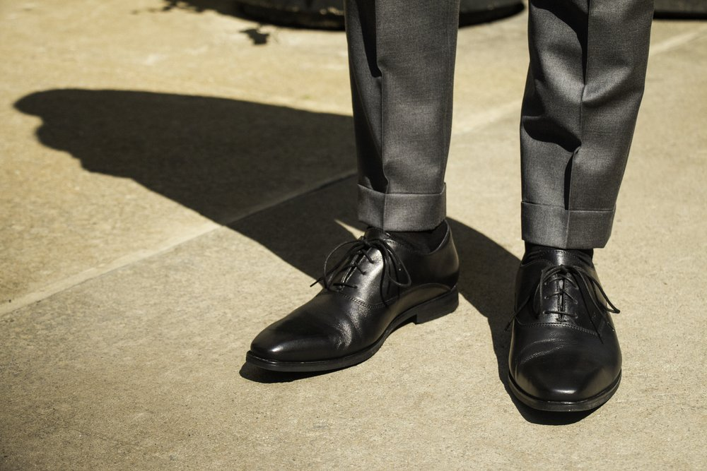 Cuffed suit pants looking sharp