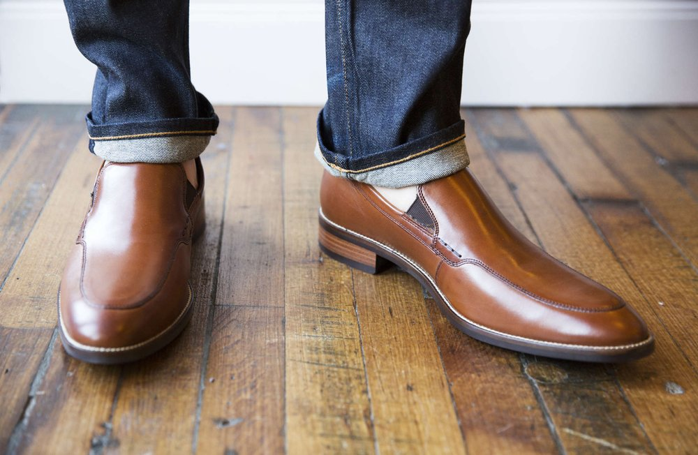 Classy leather shoes with cuffed selvedge jeans