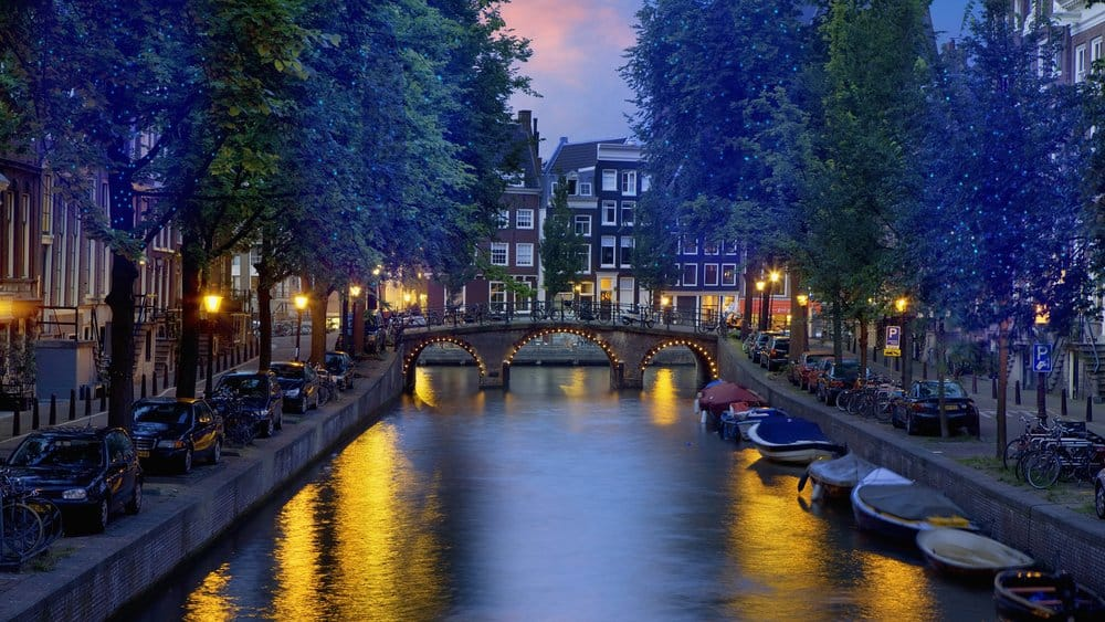 Canal at night in Amsterdam