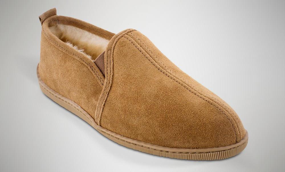Minnetonka Twin Gore Sheepskin – mens slippers
