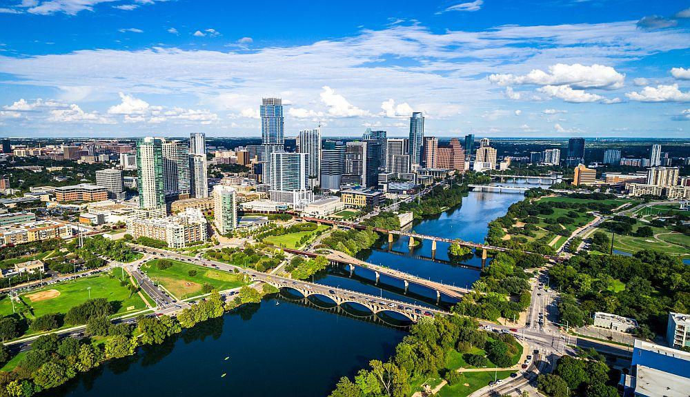 Austin, Texas Skyline - aerial drone view