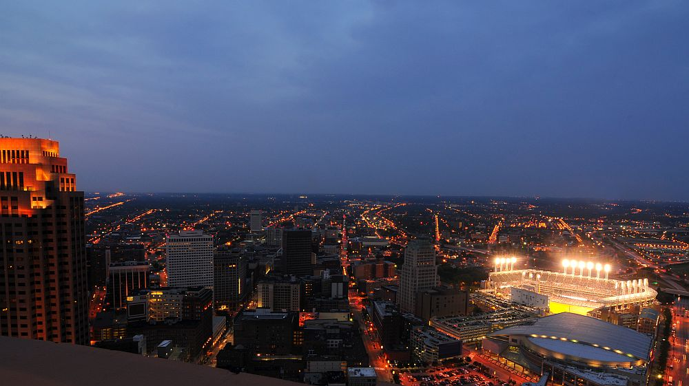 Cleveland - night aerial view