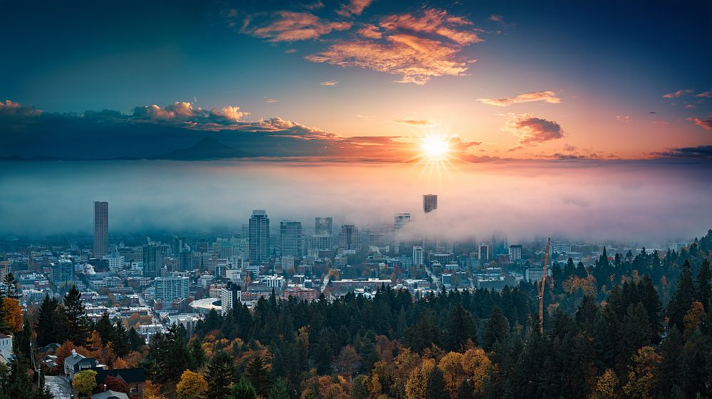 Portland downtown with rolling fog and autumn foliage