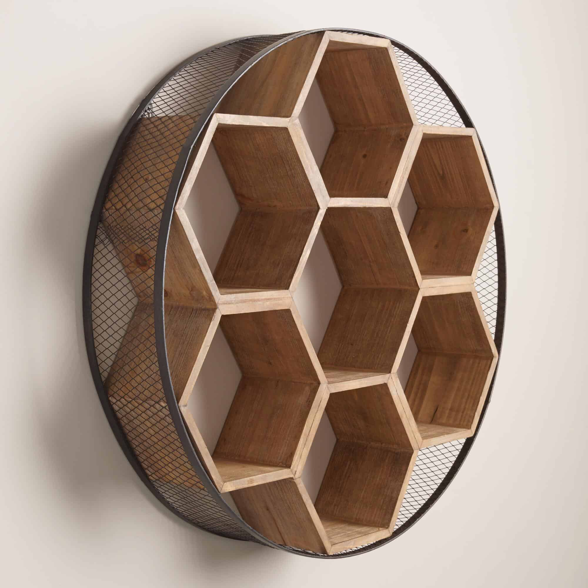 Round Metal and Wood Honeycomb Bookshelf