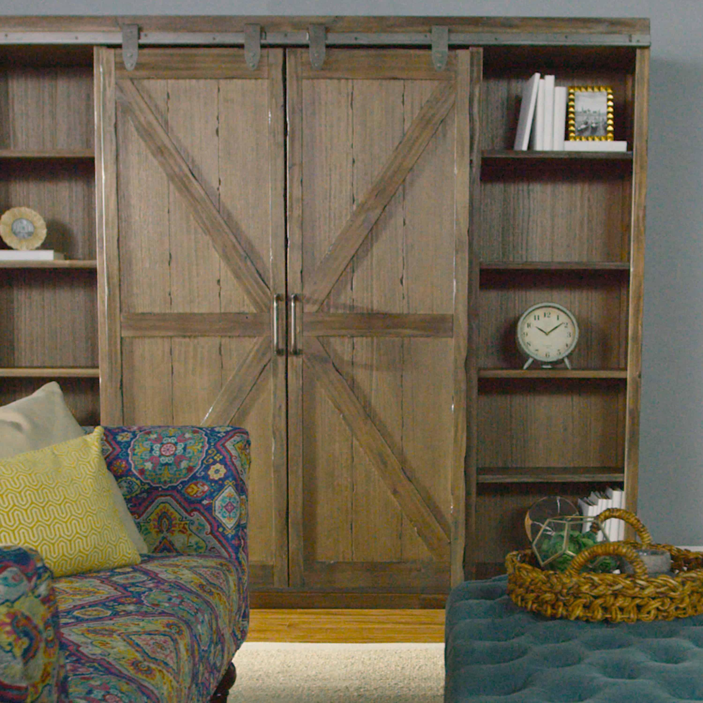 Wood Farmhouse Barn Door Bookcase