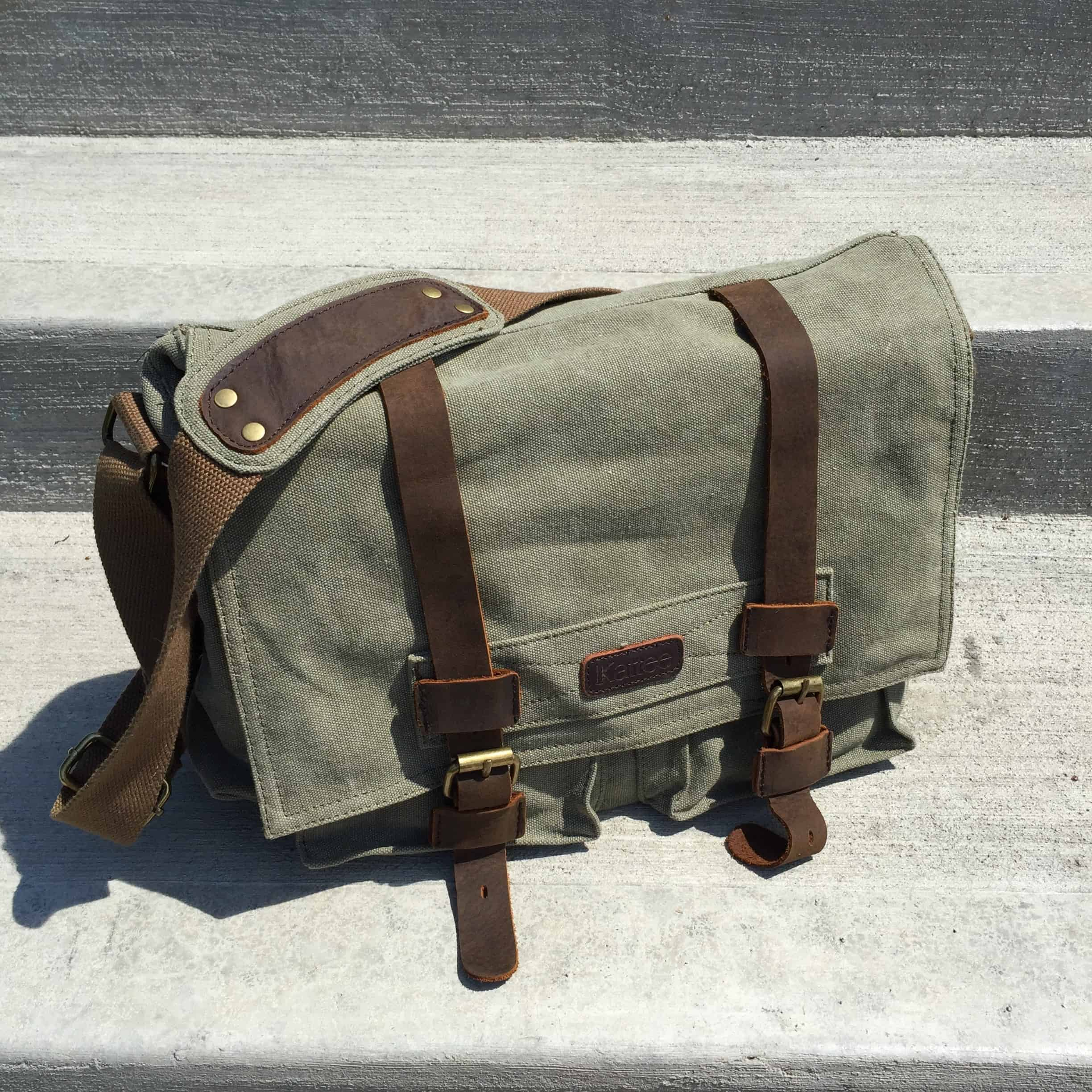 kattee canvas vintage camera messenger bag