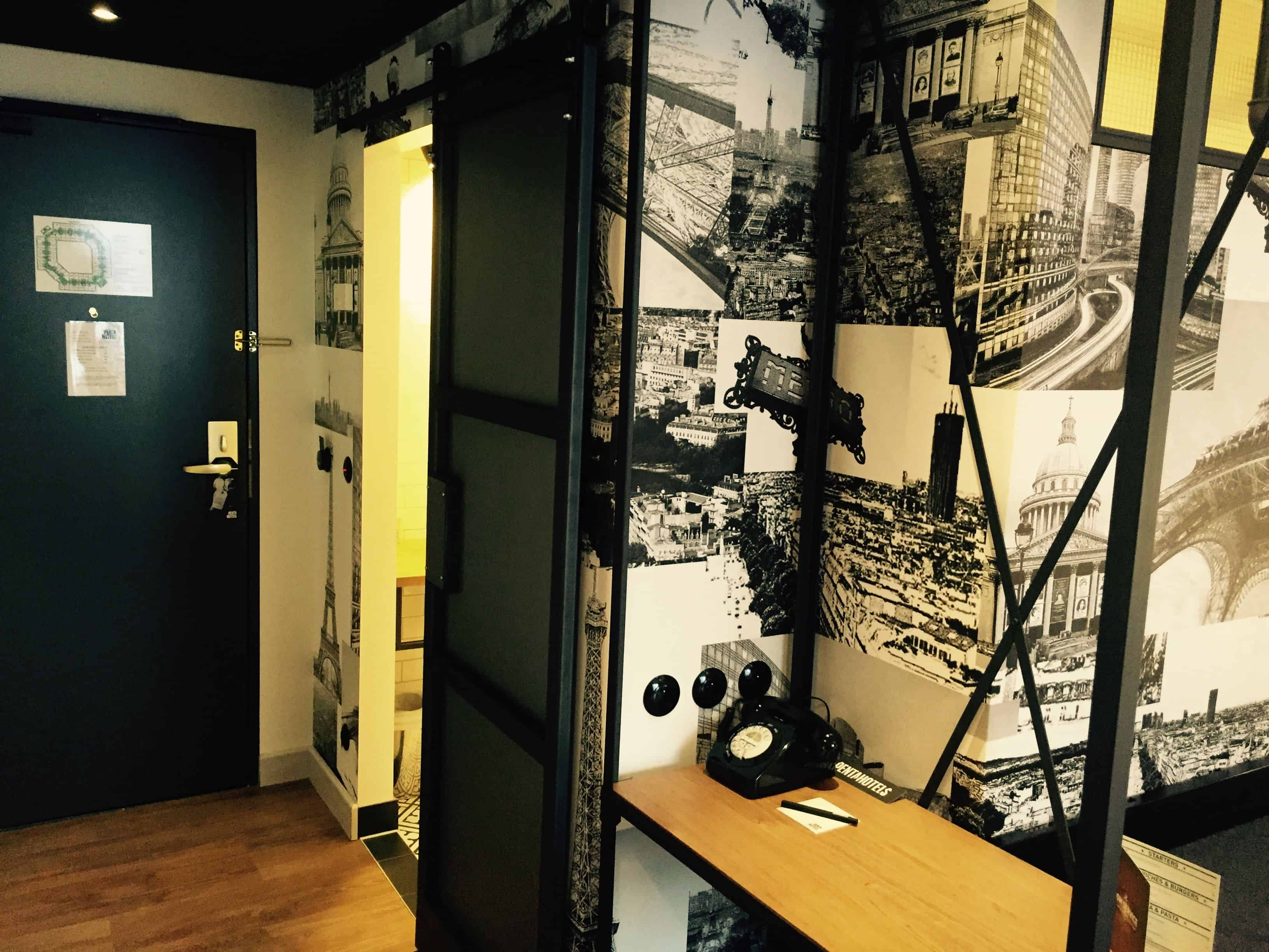 Modern black and white cozy industrial room – pentahotel paris