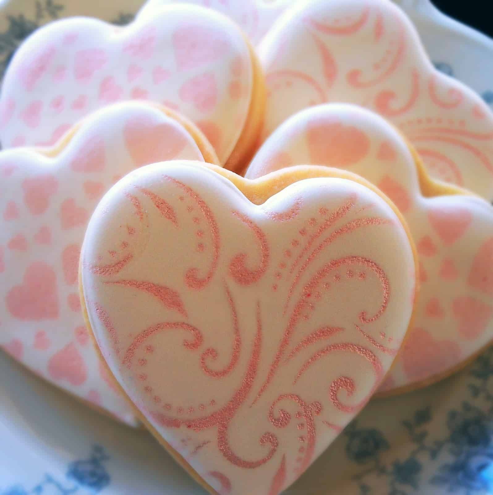 Stenciled Heart Cookies Insane Baking Creations