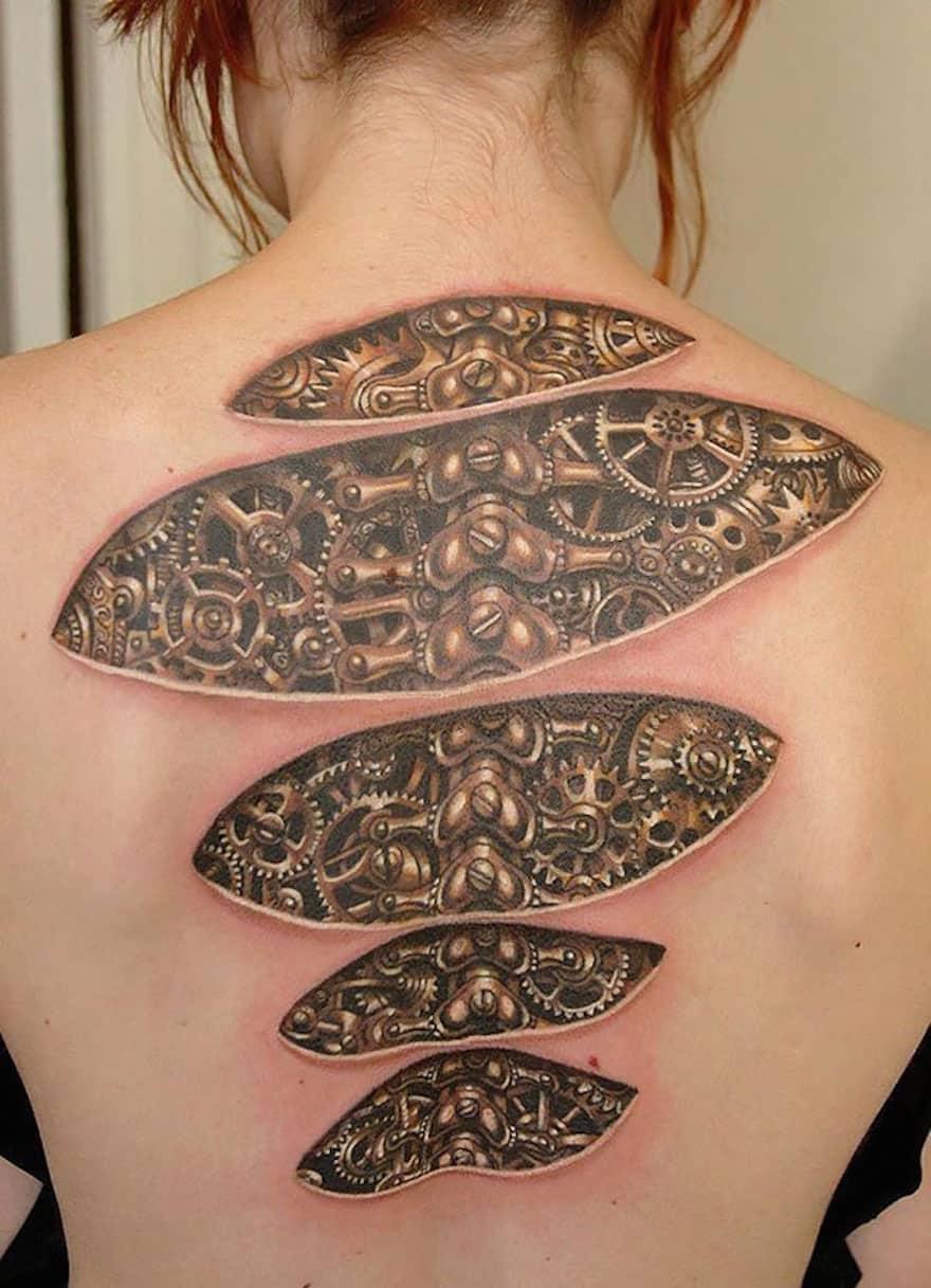 Biomechanical 3D tattoo idea
