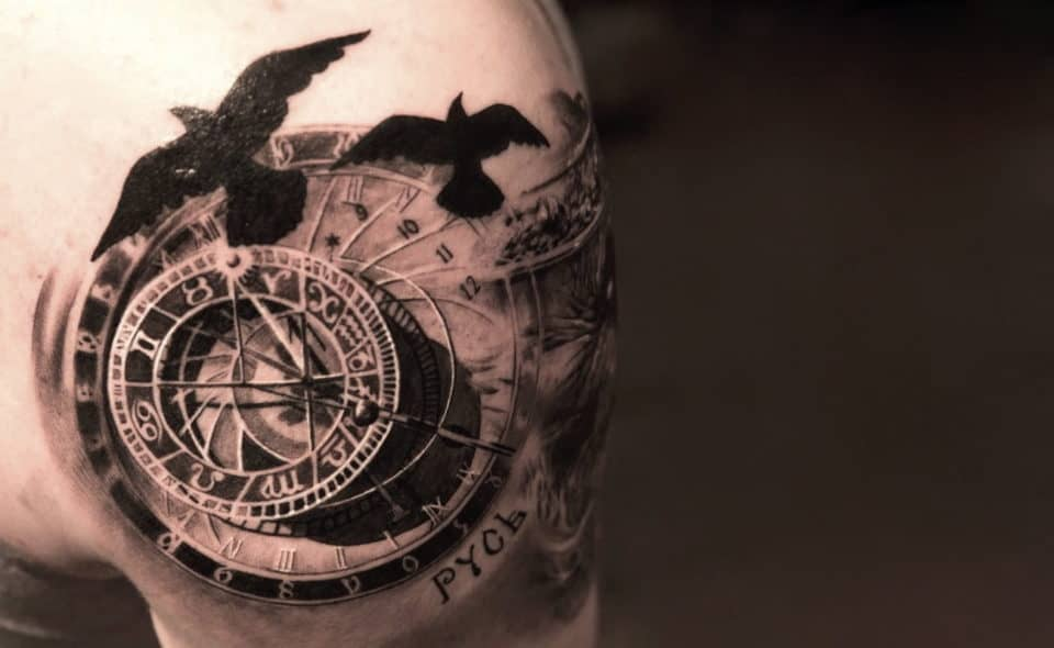 Crows In Flight 3D tattoo 960x590 20 Wild 3D Tattoos That Are Skin Art At Its Best