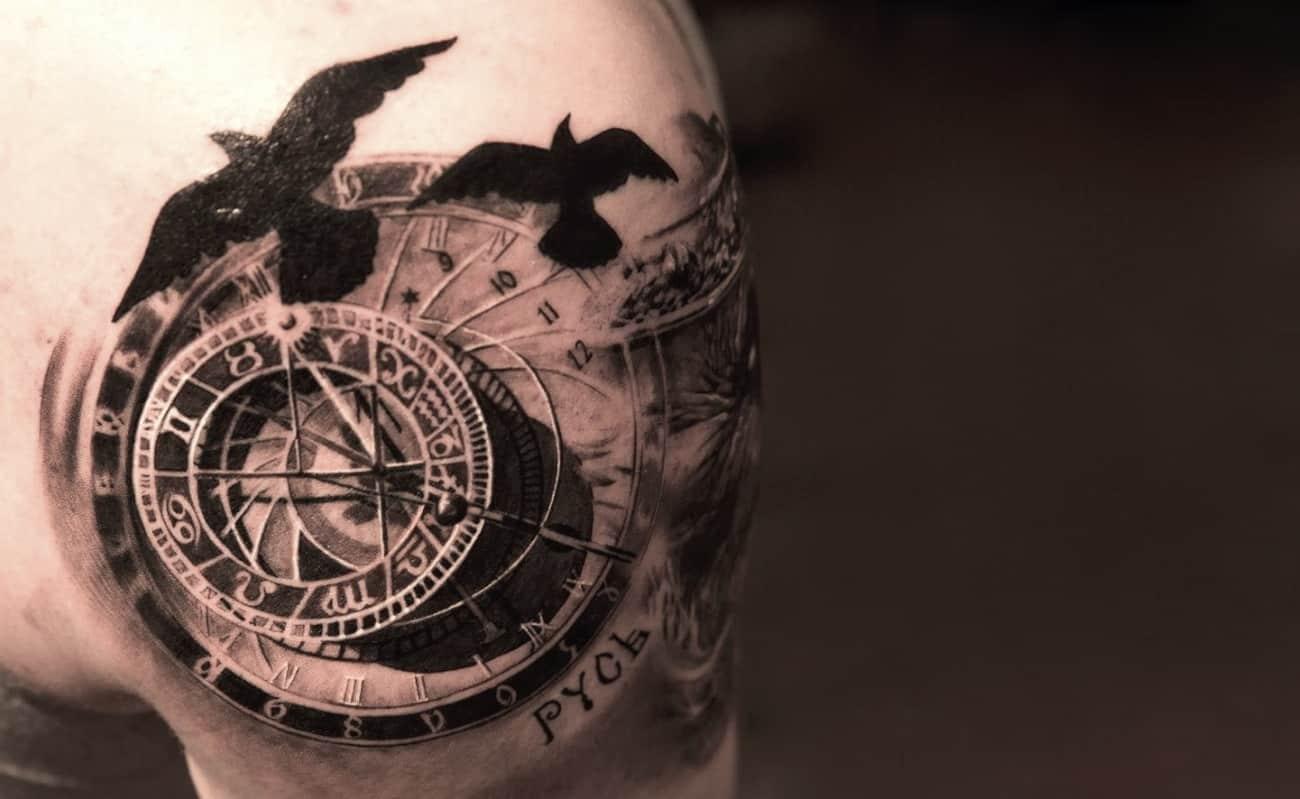 Crows In Flight – 3D tattoo