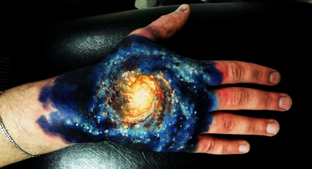 Spiral galaxy tattoo